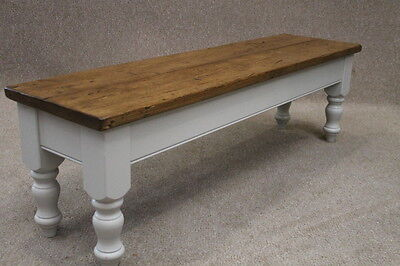 Handmade Rustic Reclaimed Pine Bench With Farrow & Ball Painted Base 6Ft