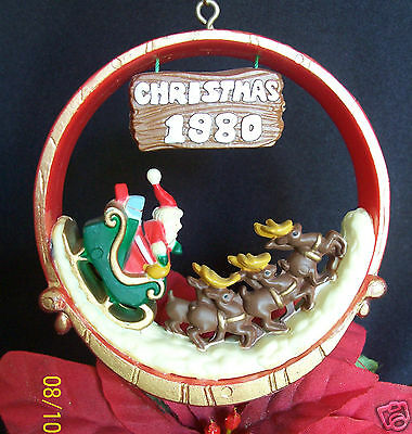 American Greetings Nostalgia Ornament Very RARE! 1980 Santa & his Sleigh
