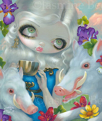 Circe & Swine Jasmine Becket-Griffith big eye lowbrow rococo art CANVAS PRINT