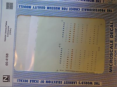 Microscale Decal N  #60-4168 Data Vehicle - Commercial - License Plates