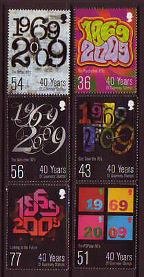 Guernsey 2009 40 Years Of Guernsey Stamps Set Of 6 Unmounted Mint, Mnh