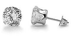 Stainless Steel CZ Stud Earrings Clear Round Brilliant Cut 316L Surgical Grade