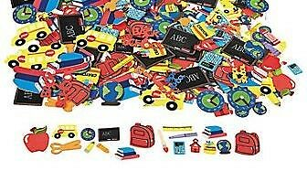 30 Back to School Foam Stickers Self-adhesive Shapes Bus Globe Crayon Books