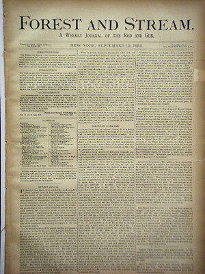 Newspaper Forest and Stream Weekly Journal of the Rod and Gun Fishing Hunt 1883