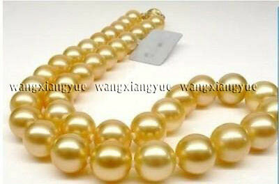 "10mm Golden South Sea Shell Pearl Round Beads Necklace 18"" AAA Grade"