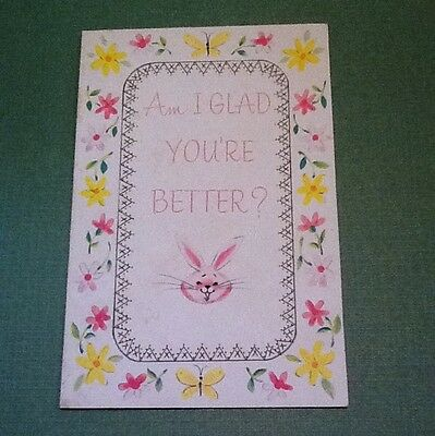 #C646- Vintage Get Well Greeting Card Sweet Pink Rabbit With Floral Border