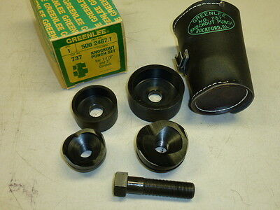 "NOS! GREENLEE No. 737 KNOCKOUT PUNCH SET, 1-1/2"" & 2"" CONDUIT"