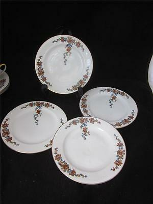 4 ROB240 by ROYAL BAYREUTH RANGE/YELLOW & BLUE FLOWERS 4 B&B BREAD BUTTER PLATES