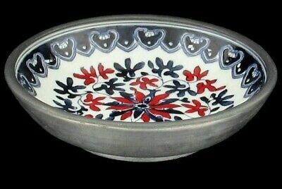 Vintage Acf Japanese Porcelain Ware Pewter Encased Decorative Bowl