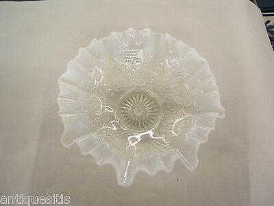 NORTHWOOD OPALESCENT  GLASS BOWL BLOSSOMS AND PALMS