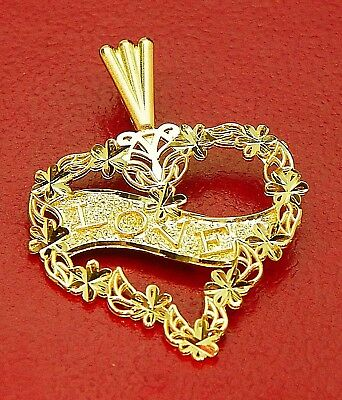 HEART  PENDANT WITH ( LOVE ) ON  IT  SOLID 14K GOLD, 1.2g