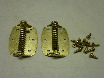 "Nos! 2"" Door Spring Hinges, Bright Brass Plated"