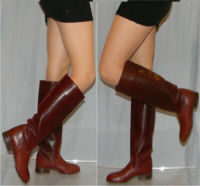TALL vintage FRYE riding boots sz 5.5 oxblood two toned leather campus 70s 80s