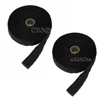 Save $ On 2 Fiberglass Atv Header Exhaust Pipe Thermo Wrap Tape Rolls 50Ft Black