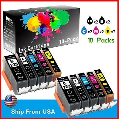 10 Ink Cartridges for Canon PGI-225 BK CLI-226BK,C,M,Y Canon Pixma MG5120 MG5220