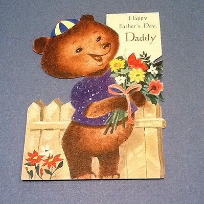 #C709- Vintage Happy Father's Day Greeting Card Cute Brown Flocked Bear