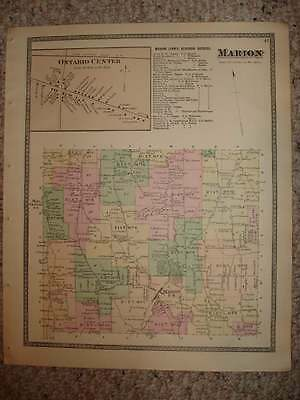 1874 MARION ONTARIO CENTER WAYNE COUNTY NEW YORK ANTIQUE HANDCOLORED MAP SuperbN