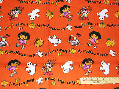 Dora the Explorer & Boots Trick or Treat Halloween Cotton Fabric by the 1/2 Yard