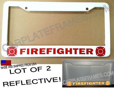 LOT OF 2 REFLECTIVE FIREFIGHTER fire fighter safety red License ...