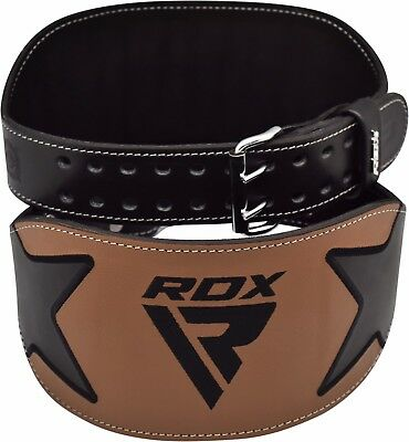 "RDX 6"" Leather Power Weight Lifting Gym Belt Back Support Training Fitness Brace"