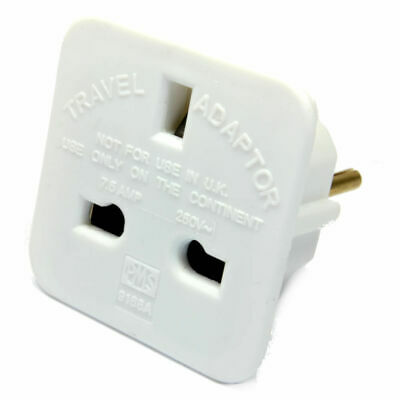5 x TENERIFE Travel Adaptors UK Main Plug To 2 pin Socket / Canary Islands