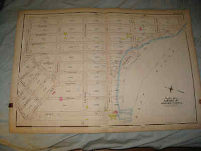 Huge Gorgeous Antique 1904 Bronx New York City Handcolored Map East River Nr