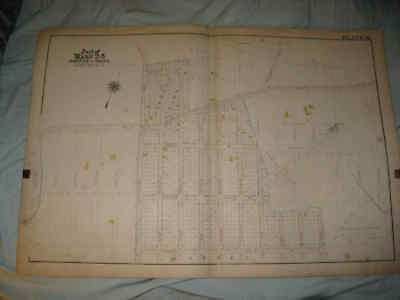 Huge Superb Antique 1905 Bronx New York City Handcolored Map Ward 24 Unsettled N