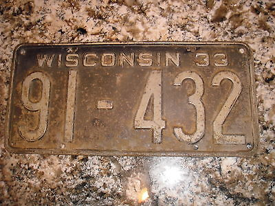 1933 Wisconsin License Plate 91 432