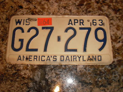 1963 Wisconsin License Plate G27 279