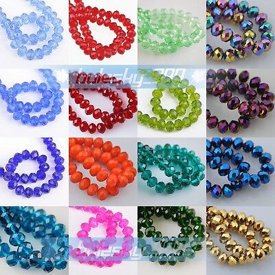 100pcs Faceted Glass Crystal Rondelle Spacer Loose Beads 6x4mm Jade Color AB