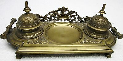 Fine Ornate Victorian Era Antique Solid Brass Inkwell Stand Desk Tray Writing