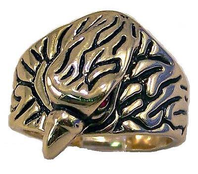 GENTS 18 CARAT GOLDPLATED EAGLE HEAD RUBY RED EYES RING 18 CT 18K GP