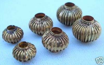 VINTAGE ANTIQUE TRIBAL OLD 22 CT GOLD BEADS 6 PIECE SET