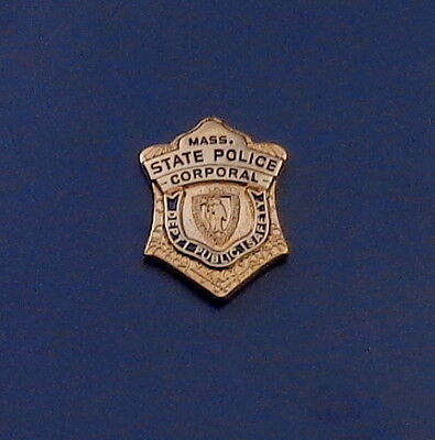 Massachusetts MA State Police CORPROAL mini GOLD badge LAPEL PIN