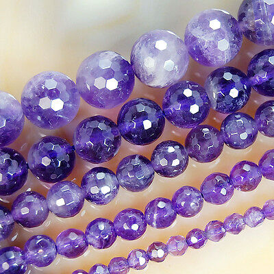"""Natural Faceted Amethyst Gemstone Round Beads 15"""" 4 6 8 10 12mm Pick Size"""