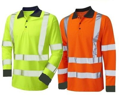 Long Sleeve Polo Shirt Hi Visibility Yellow or Orange Hi Viz Class 3