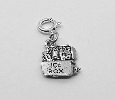 Pewter Cooler/ Icebox Charm w/ 8mm Spring Ring - 1921