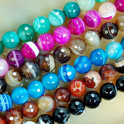 """4mm 6mm 8mm 10mm 12mm  Faceted Striated Agate Round Beads 15"""" Pick Color"""
