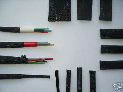 Black Expandable Braided Polyester Sleeving 15mm for cables