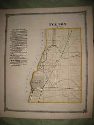 Antique 1872 Fulton Township Whiteside County Illinois Handcolored Map Superb Nr