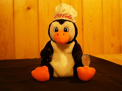 Coca-Cola 1998 PENGUIN Plush Bean Bag Beanie CHEF HAT*COKE*NWT*Cola*FREE SHIP