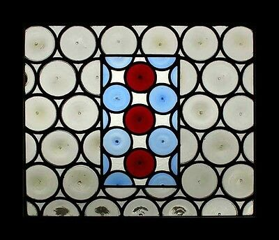 Fantastic Rondels French Antique Stained Glass Window