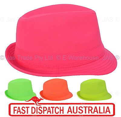 Dressup Disco Fluro 80s 80's Party Dance Costume Fedora Ganster Trilby Cap Hat