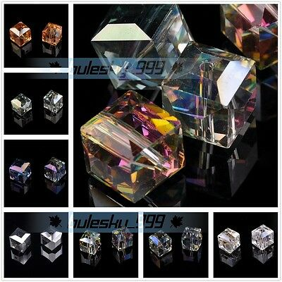 20pcs 14mm Big Cube Square Glass Crystal Charms Faceted Loose Spacer Beads