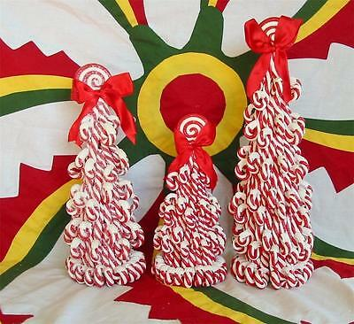 Faux Peppermint Candy Trees with Red Bow Set of 3 Candy Canes
