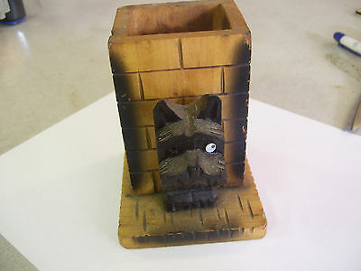 Amazing! Wooden Scottish Terrier Hand-Carved Pencil Holder - Very Nice!