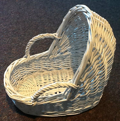 "Small White Wicker Baby Bassinet Basket 11"" X 10"" Shower Gift Centerpiece"