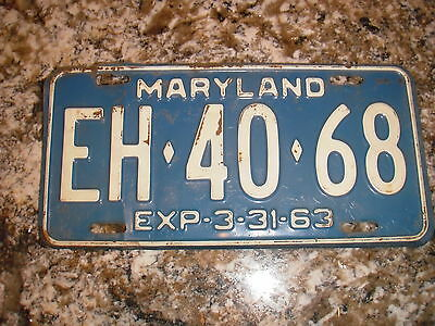 1963 Maryland License Plate Eh 40 68