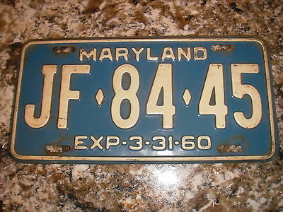 1960 Maryland License Plate Jf 84 45
