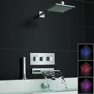 Concealed Square Waterfall LED Thermostatic Mixer Bath Shower Tap Set